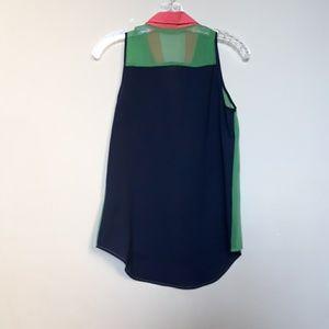 Ya Los Angeles Tops - Ya | Silk Colorblock Collared Tank Top Pockets S